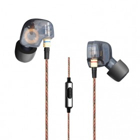 Knowledge Zenith Copper Driver In-Ear Sports Earphones 3.5mm with Mic - KZ-ATE - Silver Black
