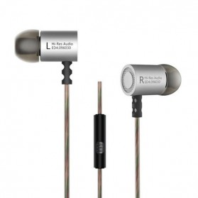 Knowledge Zenith HiFi Metal In-ear Earphones Heavy Bass 9.6mm Driver with Mic - KZ-ED4 - Silver