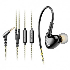 QKZ Sport Runing Bass In-ear Earphones with Microphone - QKZ-C6 - Black