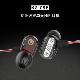 Knowledge Zenith Double Driver Earphone with Mic - KZ-ZSE - Black - 5