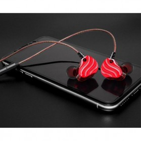 QKZ Double Driver Earphone HiFi Dengan Mic - QKZ-KD4 - Red