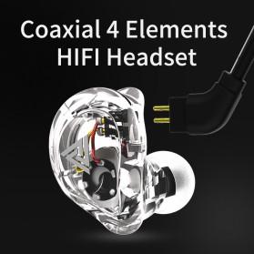 QKZ 4 Dynamic Driver Earphone HiFi Dengan Mic - QKZ-VK1 - Transparent - 7