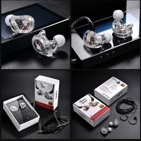 QKZ 4 Dynamic Driver Earphone HiFi Dengan Mic - QKZ-VK1 - Transparent - 9