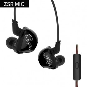 Knowledge Zenith 6 Coil Driver Earphone Dengan Mic - KZ-ZSR - Black - 1