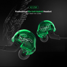 Knowledge Zenith 6 Coil Driver Earphone Dengan Mic - KZ-ZSR - Black - 6