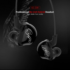 Knowledge Zenith 6 Coil Driver Earphone Dengan Mic - KZ-ZSR - Black - 7