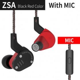 Knowledge Zenith Hybrid Driver Earphone HiFi DA + BA Dengan Mic - KZ-ZSA - Black/Red - 1