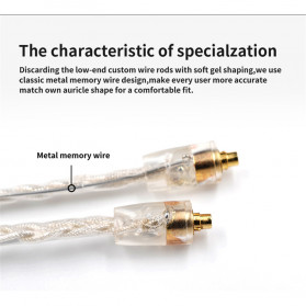 KZ Kabel MMCX Earphone Silver Plating for AS10 ZS10 ZST ES3 ED12 ZS6 - Silver - 6