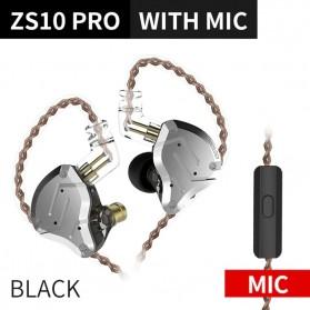 Knowledge Zenith Earphone HiFi 1DD + 4BA Driver with Mic - KZ-ZS10 Pro - Black