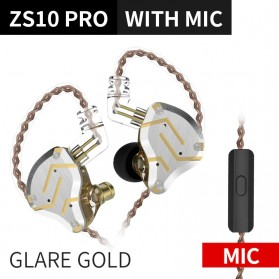Knowledge Zenith Earphone HiFi 1DD + 4BA Driver with Mic - KZ-ZS10 Pro - Golden