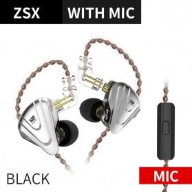 Knowledge Zenith Terminator Earphone HiFi  1DD + 5BA Driver with Mic - KZ-ZSX - Black