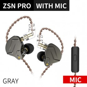 Knowledge Zenith Hybrid HiFi Earphone 1BA+1DD with Mic - KZ-ZSN Pro - Gray