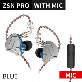 Knowledge Zenith Hybrid HiFi Earphone 1BA+1DD with Mic - KZ-ZSN Pro - Blue