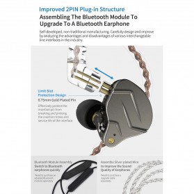 Knowledge Zenith Hybrid HiFi Earphone 1BA+1DD with Mic - KZ-ZSN Pro - Blue - 8