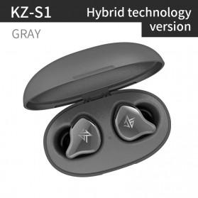 Knowledge Zenith TWS True Wireless Earphone Bluetooth 5.0 Hybrid Driver 1DD+1BA with Charging Dock - KZ-S1 - Gray