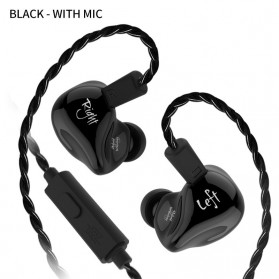 Knowledge Zenith Earphone HiFi Dynamic Driver Noise Cancelling with Mic - KZ-ZS4 - Black