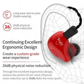 Knowledge Zenith Earphone HiFi Dynamic Driver Noise Cancelling with Mic - KZ-ZS4 - Black - 4