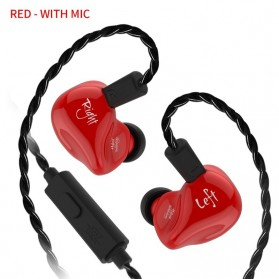 Knowledge Zenith Earphone HiFi Dynamic Driver Noise Cancelling with Mic - KZ-ZS4 - Red