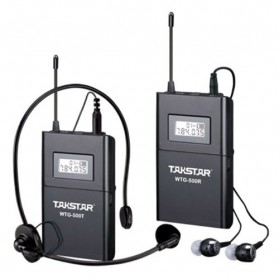 Takstar Headset UHF Wireless Tour Guide System 1 Receiver 1 Transmitter - WTG-500 - Black