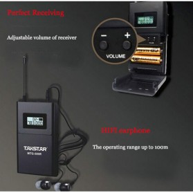 Takstar Headset UHF Wireless Tour Guide System 1 Receiver 1 Transmitter - WTG-500 - Black - 4