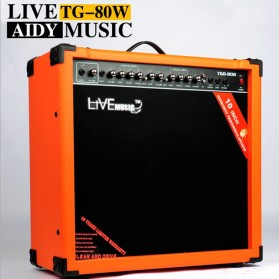 Live Music TG-80W Electric Guitar Amplifier Reverberation 2 Port 80W - Black/Orange