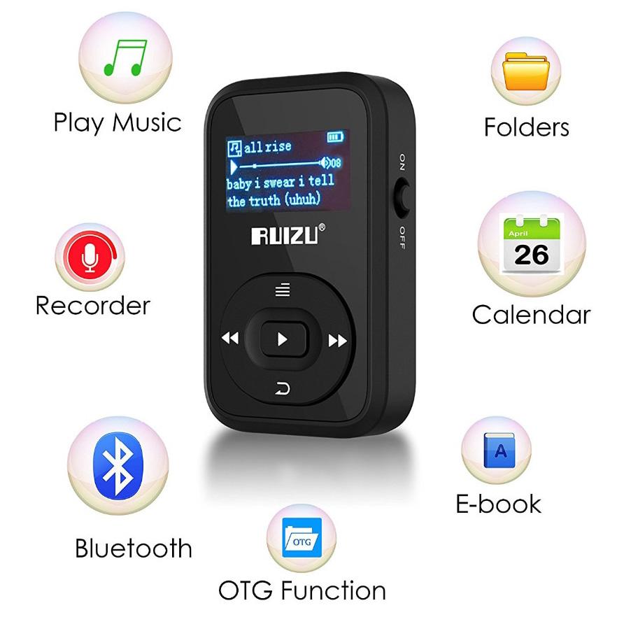 Ruizu X26 Sport Bluetooth HiFi DAP MP3 Player 8GB - Black