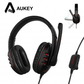 PC Gaming - Aukey Deep Bass Gaming Headset - GH-S1 - Black/Red