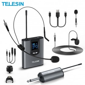 Telesin Headset UHF Wireless Tour Guide Microphone System 1 Receiver 1 Transmitter - MIC-UHF-02 - Black