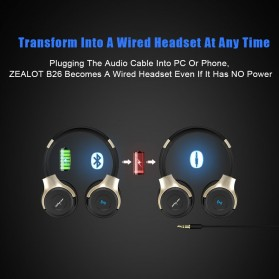 Zealot B26T Wireless Bluetooth Headphone TF Card - Black - 7