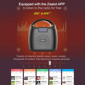 Zealot Portable Bluetooth Speaker Super Bass FM Radio - S42 - Black - 11