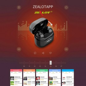 ZEALOT Earphone TWS Bluetooth 5.0 Touch Control with Charging Base - T4 - Black - 5