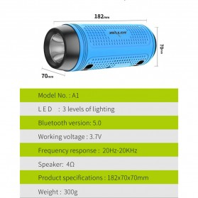 Zealot Portable Wireless Bluetooth Bicycle Speaker Flashlight Radio - A1 - Gray - 6