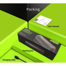 Zealot Portable Bluetooth Speaker RGB LED Effect - S55 - Black - 10