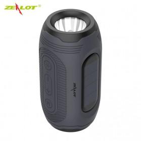 Zealot Portable Wireless Bluetooth Bicycle Speaker Flashlight Radio - A4 - Gray
