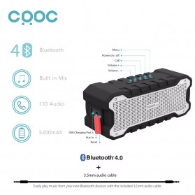 CRDC S203A Wireless Bluetooth Speaker Waterproof IP65 - Black - 2