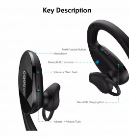 CRDC Earphone Bluetooth Sporty - EP-B34 - Black - 4