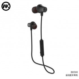 WK Earphone Bluetooth Magnetic with Microphone - BD500 - Black