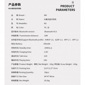 WK Wireless Bluetooth Headphone Headset - M2 - Black - 7