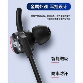WK Sporty Bluetooth Earphone with Mic - BD150 - Black - 4