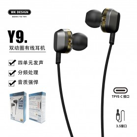 WK Wired Earphone HiFi Dual Driver USB Type C - Y9 - Black