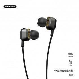 WK Wired Earphone HiFi Dual Driver USB Type C - Y9 - Black - 2