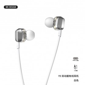 WK Wired Earphone HiFi Dual Driver USB Type C - Y9 - Black - 4
