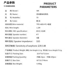 WK Wired Earphone HiFi Dual Driver 3.5mm - Y9 - Black - 10