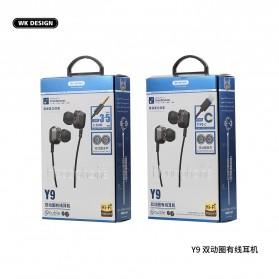 WK Wired Earphone HiFi Dual Driver 3.5mm - Y9 - Black - 3