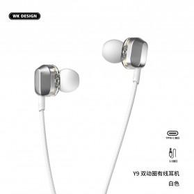 WK Wired Earphone HiFi Dual Driver 3.5mm - Y9 - Black - 4
