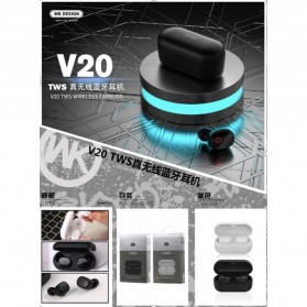 WK TWS Airpods Earphone Bluetooth dengan Charging Case - V20 - Black