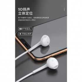 WK Earphone Earpods Headset 9D Lineary with Mic - Y12 - White