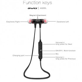 Awei Earphone Bluetooth Sport Stereo dengan Microphone - A920BL - Red - 2