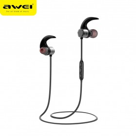 Awei Earphone Bluetooth Sport Magnetic dengan Microphone - AK1 - Gray - 4