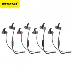 Awei Earphone Bluetooth Sport Magnetic dengan Microphone - AK1 - Gray - 5